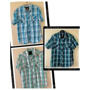 Route 66 Bundle of 3, short sleeves, plaid shirts.